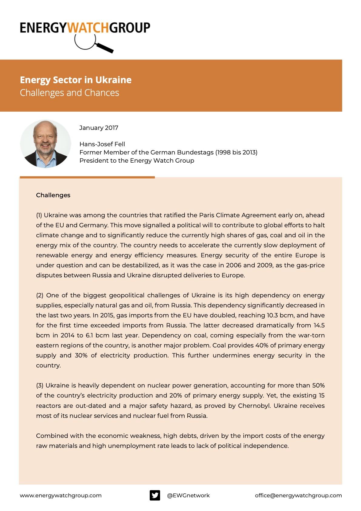 ENERGY SECTOR IN UKRAINE CHALLENGES AND CHANCES Kopie