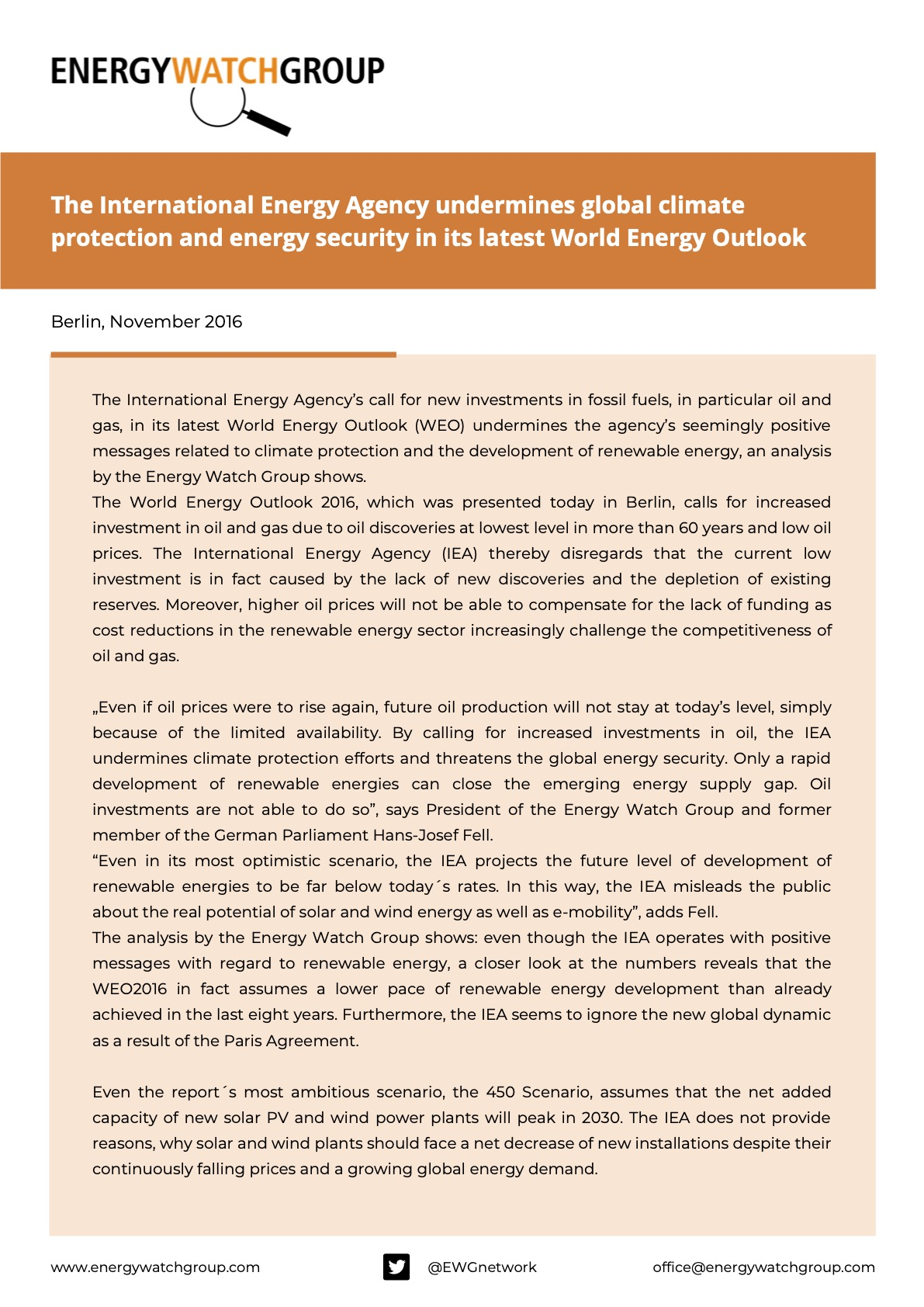 The International Energy Agency undermines global climate protection and energy security in its latest World Energy Outlook Kopie